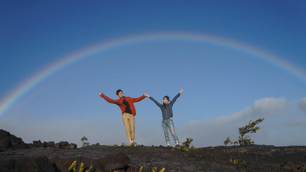 溶岩台地と大きな虹!