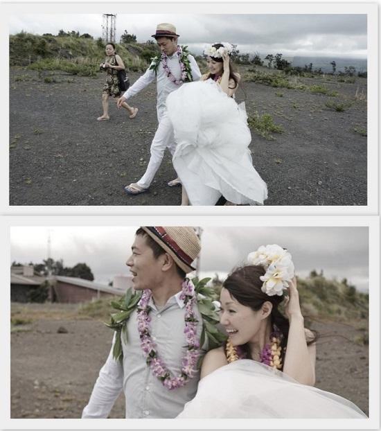 YOSHチャーター(ハワイ島のベストスポットでハネムーンカップルのウェディング姿を撮影!)6