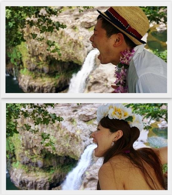YOSHチャーター(ハワイ島のベストスポットでハネムーンカップルのウェディング姿を撮影!)4